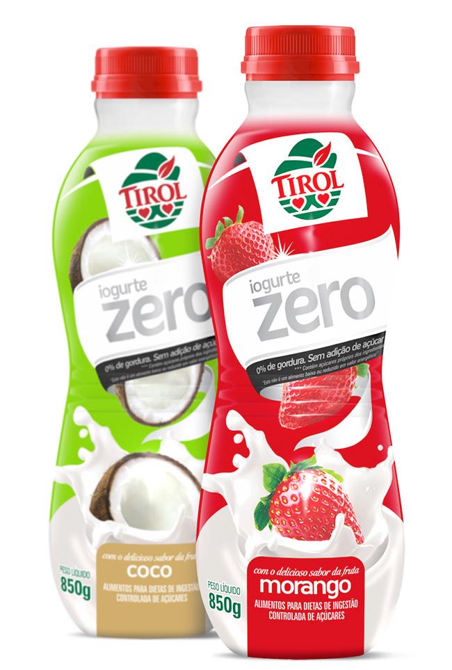 cfadd19f9 A Tirol está lançando a nova linha de iogurtes Zero Açúcar e Zero Gordura.  Disponível aos consumidores em embalagens de 850g nos sabores morango e  coco, ...